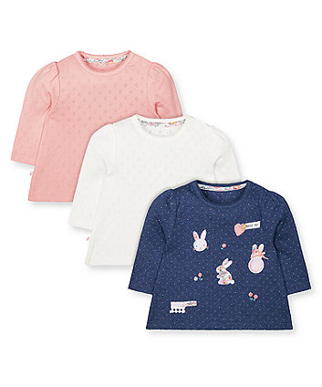 Mothercare Blue Bunny, Pointelle Pink And White T-Shirts - 3 Pack
