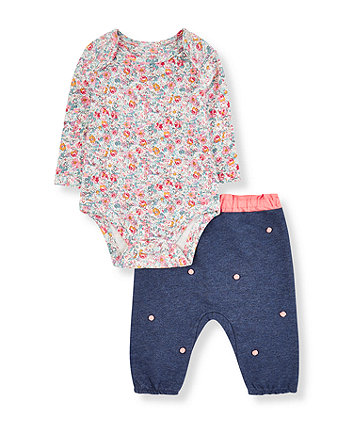 Mothercare Floral Bodysuit And Blue Pom Pom Joggers Set