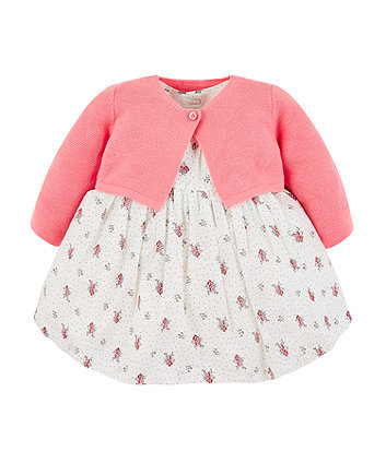 Mothercare White Ditsy Floral Dress And Pink Knit Cardigan Set
