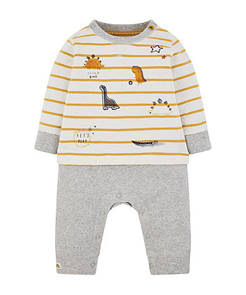Mothercare Stripe Dinosaur Mock T-Shirt Rib All In One