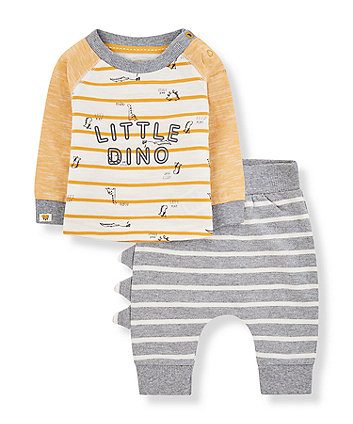 Mothercare Stripe Dinosaur T-Shirt And Joggers Set