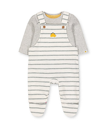 Mothercare Dinosaur Stripe Dungarees And Grey Bodysuit Set