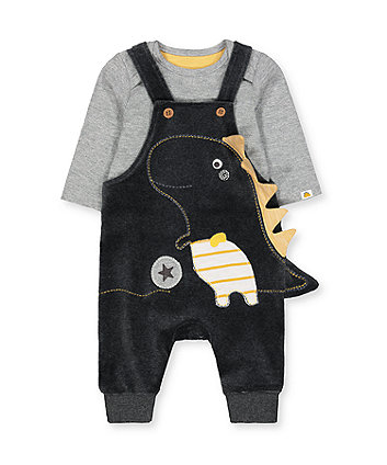 Mothercare Grey Dinosaur Dungarees And Bodysuit Set
