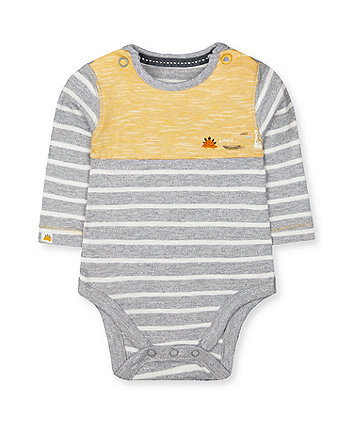 Mothercare Grey Stripe Dinosaur Bodysuit