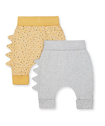 Mothercare Yellow Dinosaur And Grey Rib Joggers - 2 Pack