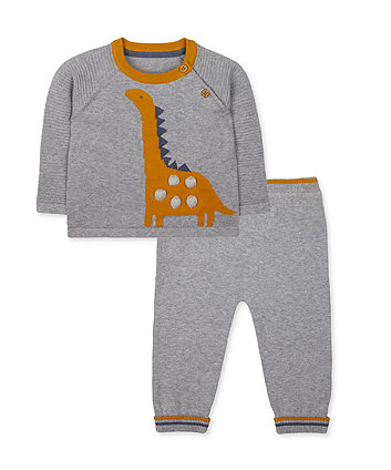 Mothercare Grey Dinosaur Knit Jumper And Joggers Set
