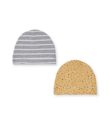 Mothercare Striped And Printed Hats - 2 Pack