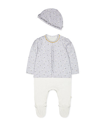 Mothercare Grey Daisy Mock Top All In One And Hat Set