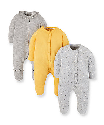 Mothercare Daisy, Stripe And Yellow Sleepsuits - 3 Pack