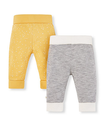 Mothercare Mustard And Striped Joggers - 2 Pack