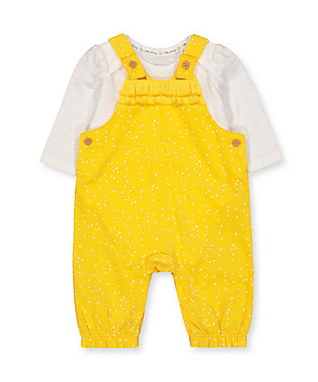 Mothercare Yellow Cord Dungarees And White Bodysuit Set