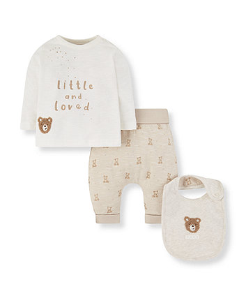 Mothercare My First Little And Loved Bear Bib, T-Shirt And Joggers Set