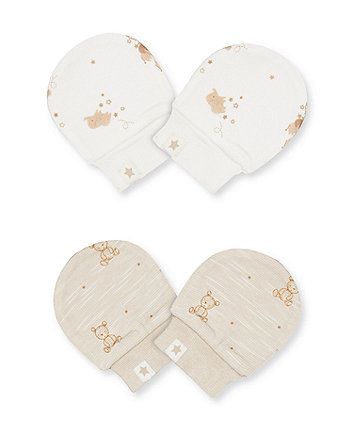 Mothercare My First Teddy Bear Scratch Mitts - 2 Pack