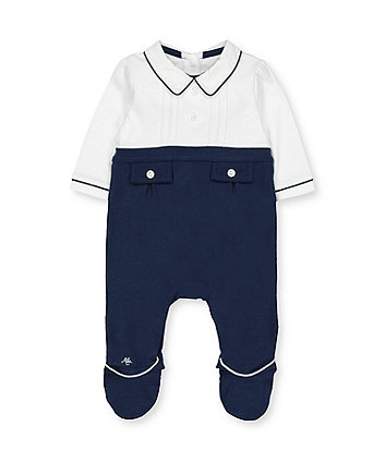 Mothercare White Mock Shirt And Navy Trousers All In One