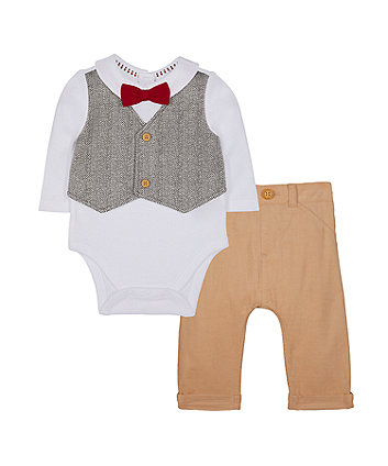 Mothercare Mock Waistcoat And Cord Trouser Set