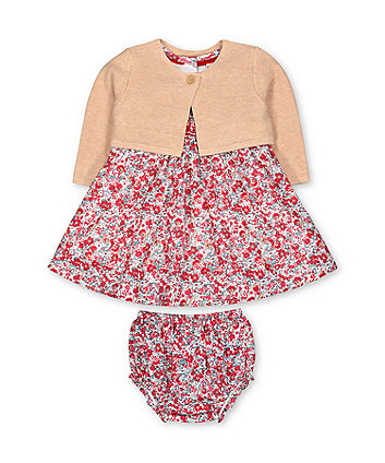 Mothercare Red Floral Dress, Cardigan And Knickers Set