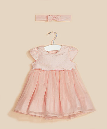 Mothercare Pink Bodice Dress And Headband Set