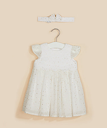 Mothercare White Gold-Star Dess And Headband Set