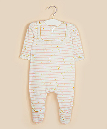 Mothercare White Striped Star All In One