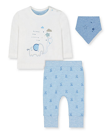 Mothercare My First Elephant And Bear T-Shirt, Joggers And Bib Set