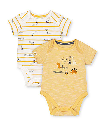 Mothercare Mustard Dino Bodysuits - 2 Pack