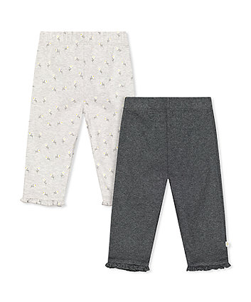 Mothercare Grey Daisy And Rib Frill Leggings - 2 Pack