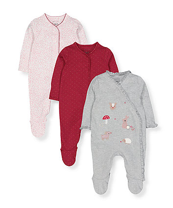 Mothercare Winter Woodland Sleepsuits - 3 Pack