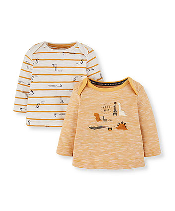 Mothercare Yellow Stripe And Dinosaur T-Shirts - 2 Pack