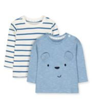 Mothercare My First Blue Bear And Stripe T-Shirts - 2 Pack