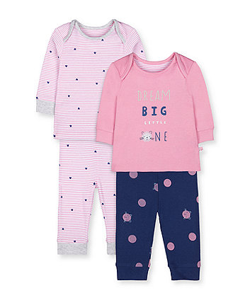 Mothercare Dream Big Little One Cat Pyjamas - 2 Pack