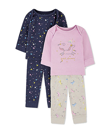 Mothercare Sweet Dreams Star And Unicorn Pyjamas - 2 Pack