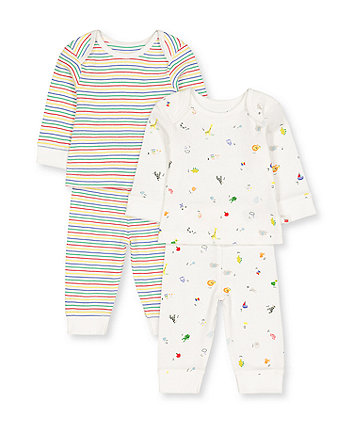 Mothercare Alphabet And Stripe Pyjamas - 2 Pack