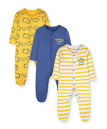 Mothercare Mummy & Daddy Boys Sleepsuits - 3 Pack