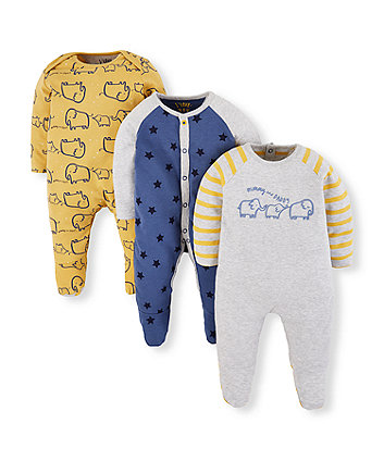 Mothercare Mummy And Daddy Elephant And Star Sleepsuits - 3 Pack
