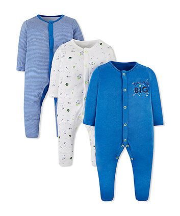 Mothercare Little Space Sleepsuits - 3 Pack