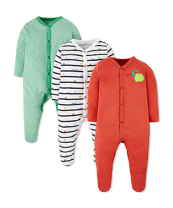 Mothercare Little Bugs Sleepsuits - 3 Pack