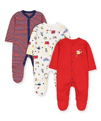 Mothercare Rescue Animals Sleepsuits - 3 Pack