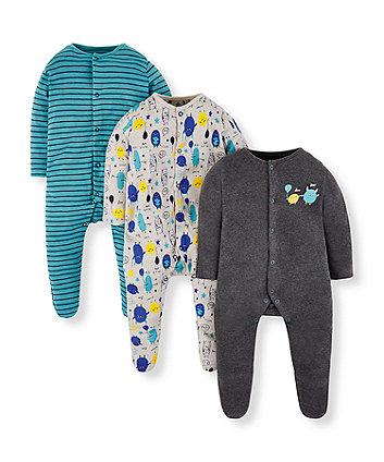 Mothercare Monsters Sleepsuits - 3 Pack