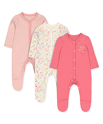 Mothercare Pink Little Friends Sleepsuits - 3 Pack