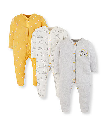 Mothercare Daisy And Mouse Friend Sleepsuits - 3 Pack