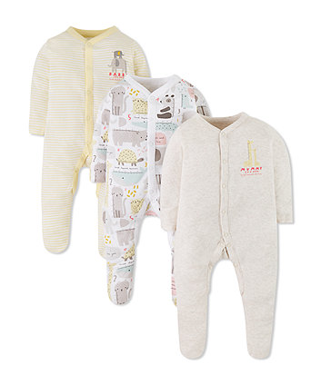 Mothercare Mummy And Daddy Animal Sleepsuits - 3 Pack