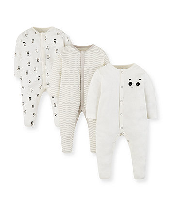 Mothercare Panda Sleepsuits - 3 Pack