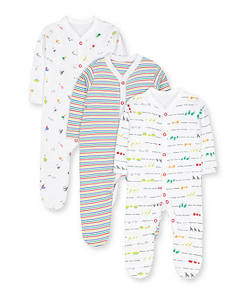 Mothercare Alphabet, Animal And Stripe Sleepsuits - 3 Pack