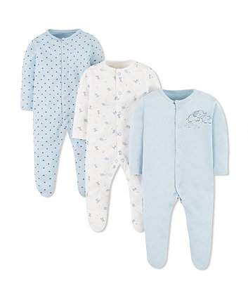 Mothercare Blue Elephant Sleepsuits - 3 Pack