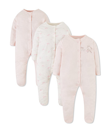 Mothercare Pink Ballerina Sleepsuits - 3 Pack
