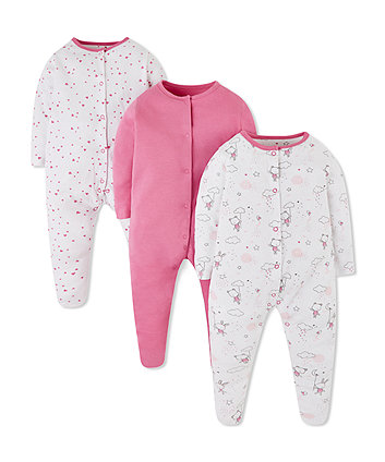 Mothercare Pink Bunny And Bear Sleepsuits - 3 Pack