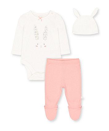 Bunny Bodysuit, Pink Leggings And Ear Hat Set