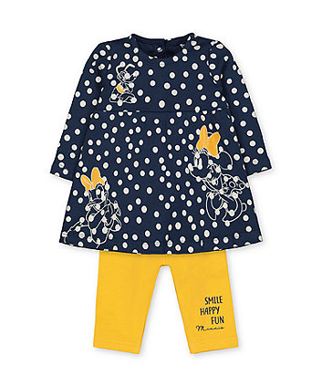 Mothercare Disney Minnie Mouse Navy Spot Dress And Yellow Leggings Set