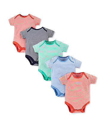 Mothercare Stripe Bodysuits - 5 Pack