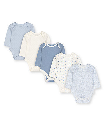 Mothercare Pretty Blue And White Bodysuits - 5 Pack